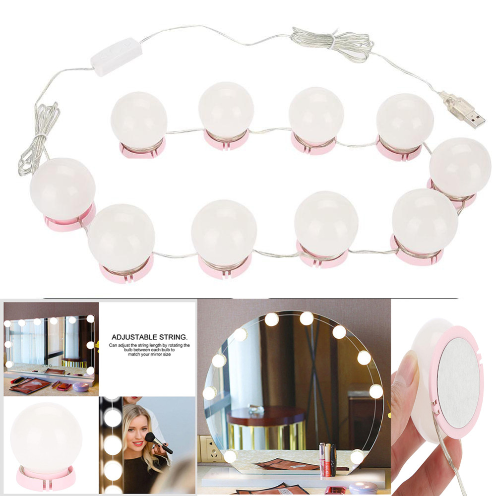 Makeup Mirror Vanity LED Light Bulbs Kit USB Charging Port Cosmetic Lighted Make up Mirrors Bulb Adjustable Brightness lights