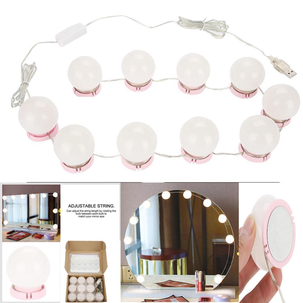 Makeup Mirror Vanity LED Light Bulbs USB Charging Port Cosmetic Lighted Adjustable Brightness Light For Make Up Vanity Table Kit
