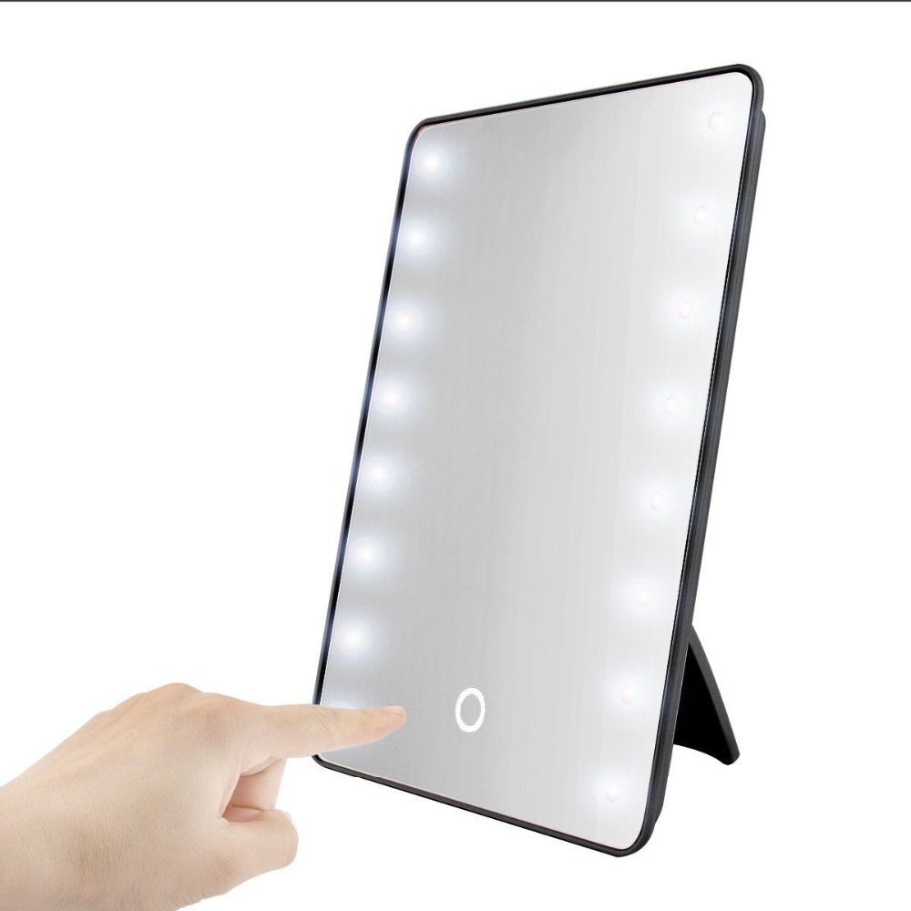 Makeup Mirror with 16 LEDs Cosmetic Mirror with Touch Dimmer Switch Battery Operated Stand for Tabletop Bathroom Bedroom Travel