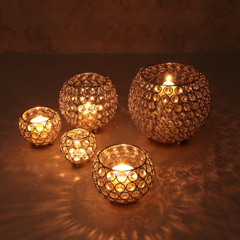 Metal Glass Candle Lantern Holders Moroccan Crystal Candlesticks for Wedding Holiday Party Table Centerpieces Decoration Mumluk