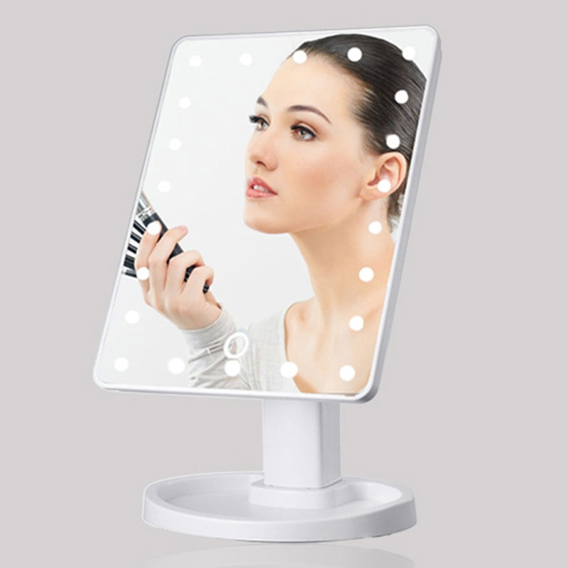 Mirrors 360 Degrees Rotation Makeup Mirror Adjustable 16/22 Leds Lighted LED Touch Screen Portable Luminous Mirrors Dropship