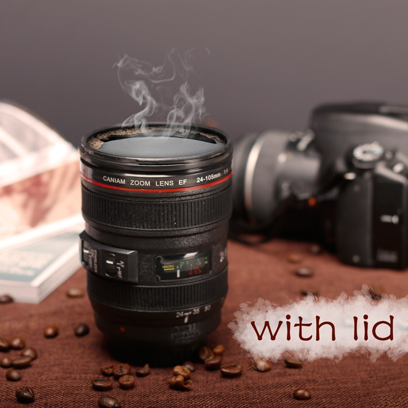 New Caniam SLR Camera Lens 24-105mm 1:1 Scale Plastic Coffee Tea MUG 400ML Creative Cups And Mugs With Lid M102 MUG-09