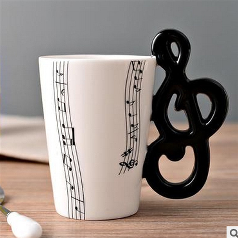 New High Quality Ceramic Cup Personality Music Note Milk Juice Lemon Mug Coffee Tea Cup Home Office Drinkware Unique Gift