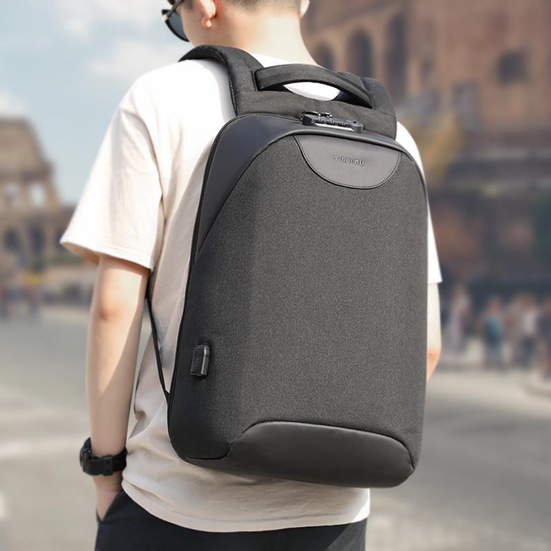 No Key Anti theft TSA Lock Fashion Men Backpacks 15.6inch USB Charging Laptop Male Mochila 18L College School Backpack for Boys