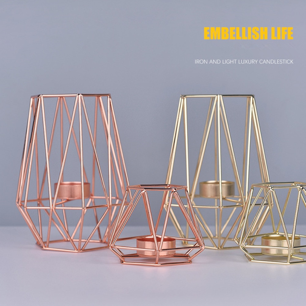 Nordic Style Wrought Iron Geometric Candle Holders Home Decoration Metal Crafts