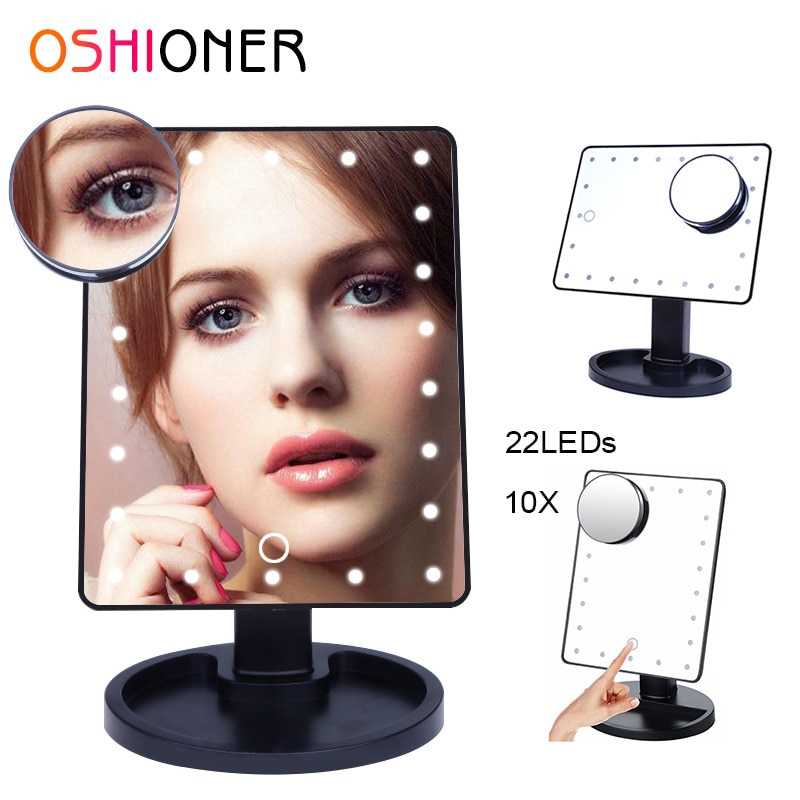 OSHIONER Dimmable LED Make Up Mirror 16/22 Light Bulbs Illuminated Vanity Cosmetic Beauty Mirror with 10x Magnifying Mirror