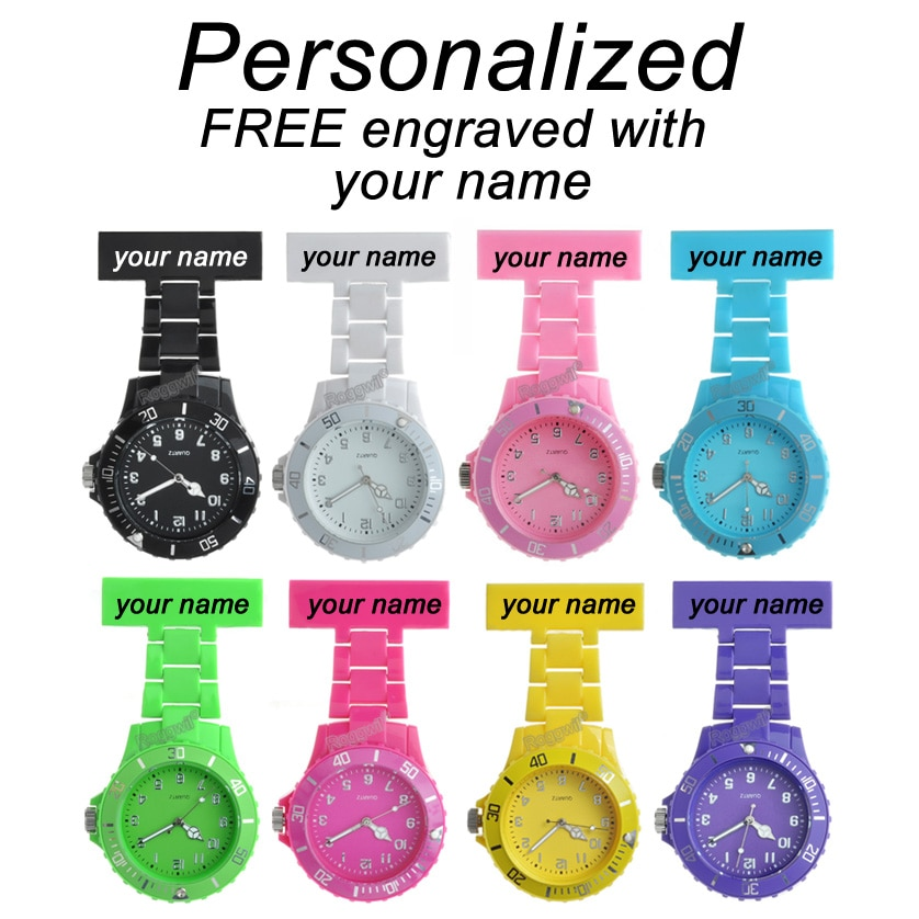 Personalized Custom FREE Laser Name Texts Engrave Pin Brooch Battery Rotating Bezel Helthcare Fob Plastic Nurse Watch