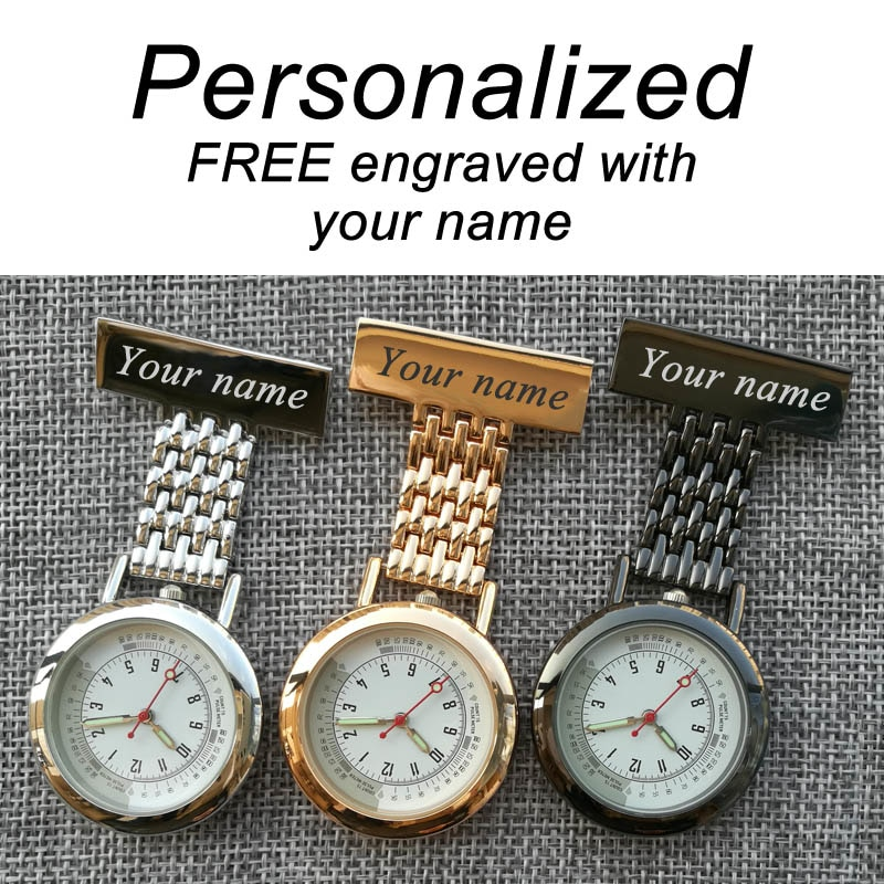 Personalized Your Name FREE Engraved Pin Brooch BIG Count Pluse Meter Dial Luminous Hands Top Quality Stainless Fob Nurse Watch