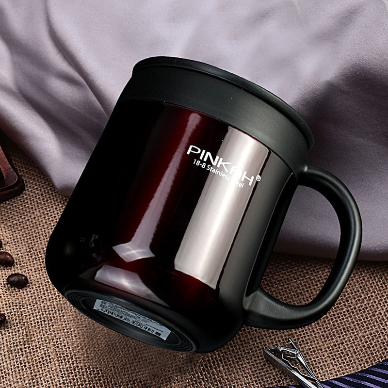 Pinkah 400ML 304 Stainless Steel Thermos Mugs Office Cup With Handle With Lid  Insulated Tea mug  Thermos Cup Office Thermoses