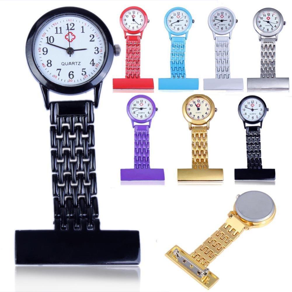 Pocket Watch Stainless Steel Arabic Numerals Quartz Watch Women Lady  Quartz Clip-on Fob Brooch Nurse Pocket Watch