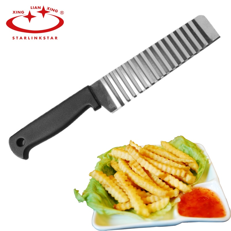 Potato French Fry Cutter Stainless Steel Kitchen Accessories Serrated Blade Easy Slicing Banana Fruits Potato Wave Knife Chopper