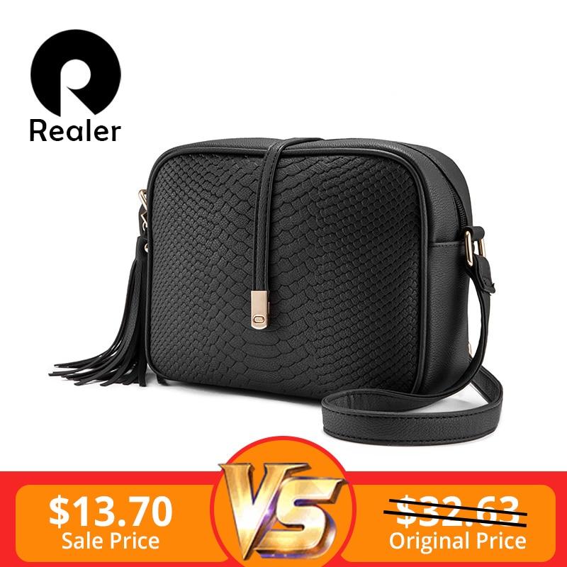 REALER brand small shoulder bag for women messenger bags ladies retro PU leather handbag purse with tassels female crossbody bag
