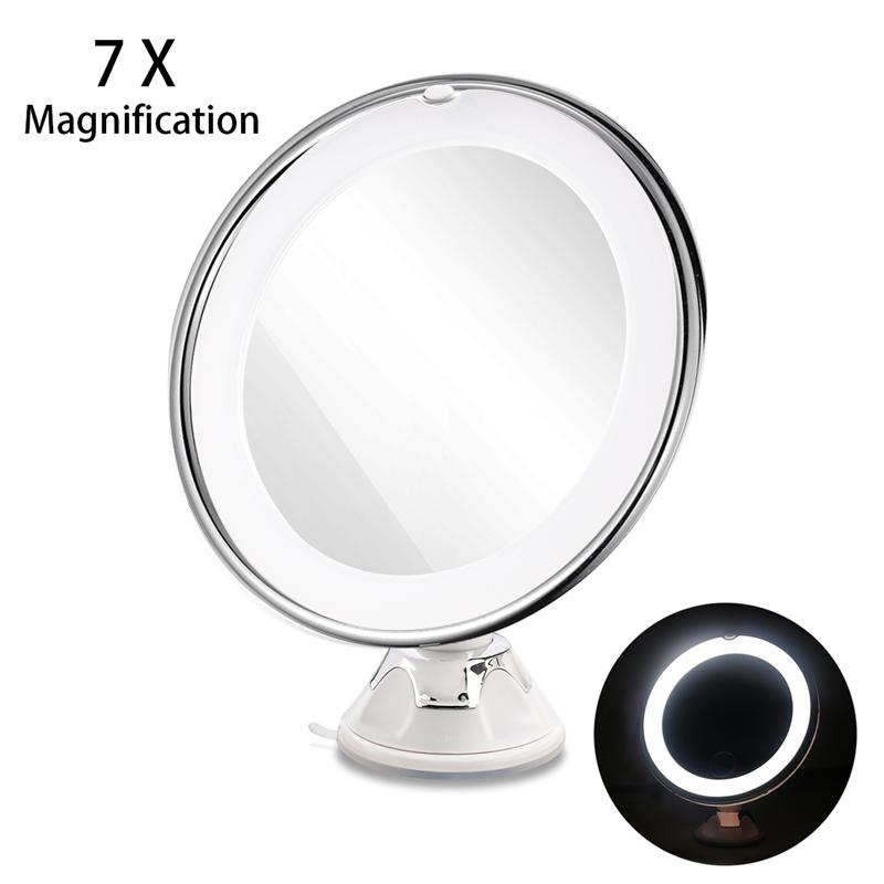 RUIMIO Magnifying Makeup Mirror with Power Locking Suction Cup Bright Diffused Light and 360 Degree Rotating Adjustable Arm