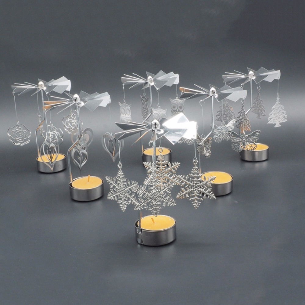 Romantic Rotary Spinning Candlestick Tealight Candle Holder Metal Tea Light Holders Carousel Home Party Decor Gift C42