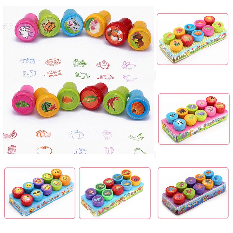 Round Multicolor Fun 10 Pcs Cute Panda Child DIY Scrapbook Kids Stamp Cartoon Rubber Stamps Scrapbooking Reward Toy