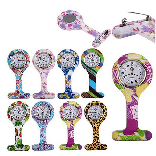 Silicone Fashion Silicone Nurses Watch Brooch Tunic Fob Pocket Stainless Dial Watches  LL@17