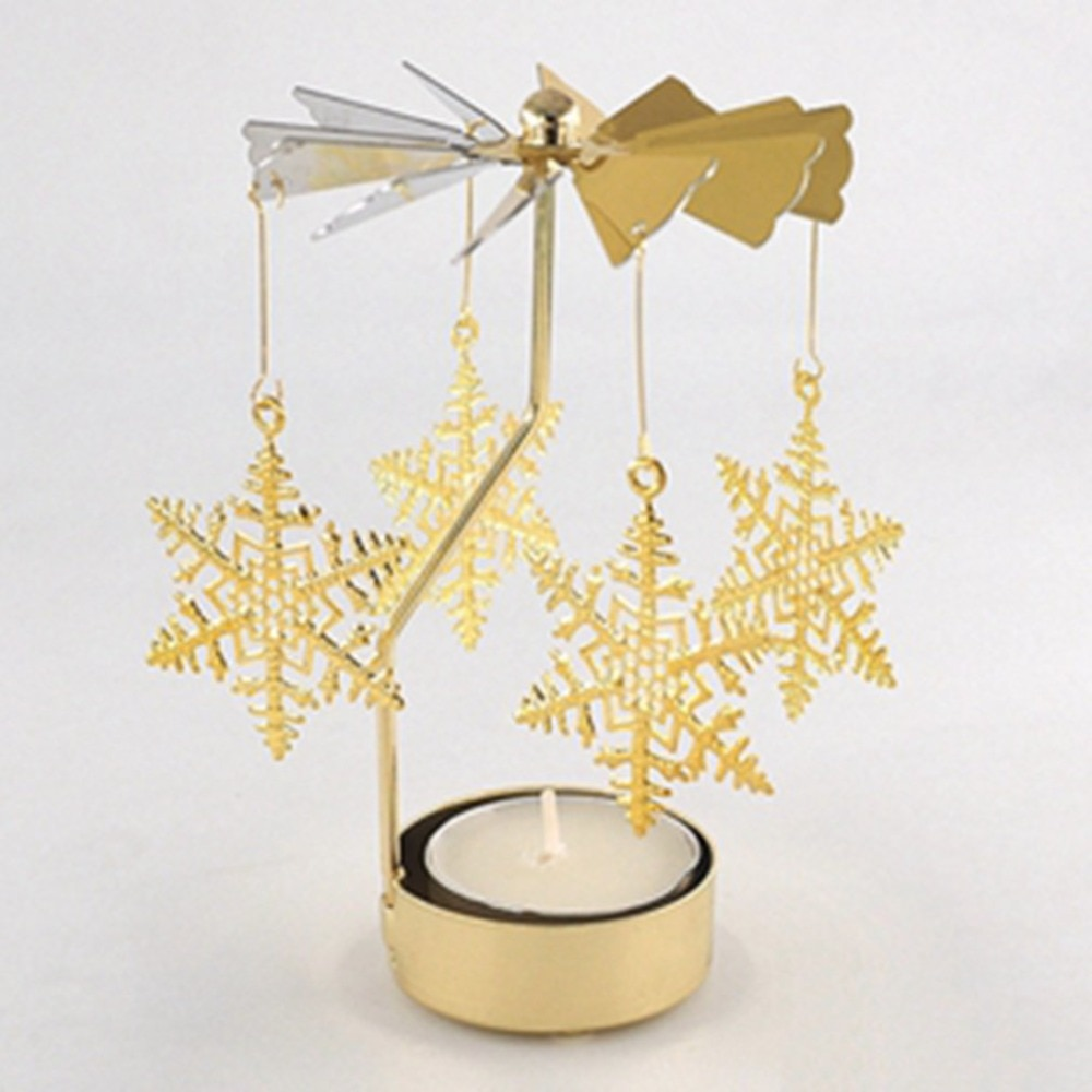 Snowflake Fluttering Shape Romantic Rotation Candlestick Candle Holders Table Desk Decor Holiday Navidad Christmas Gift for Home
