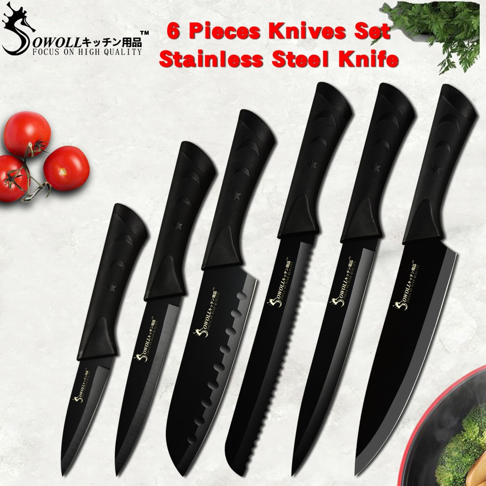 Sowoll Fashion Black Stainless Steel Kitchen Knife Set Germany Steel Ultra Sharp Blade Kitchen Knive 7Cr17 Kitchen Tools 6 PCS