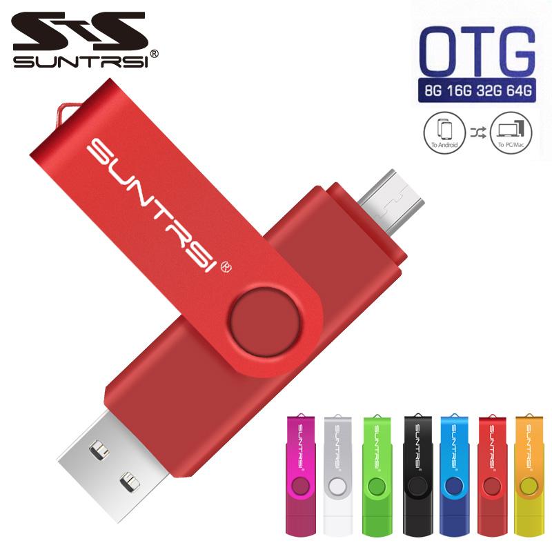 Sunstrsi USB Flash Drive for Android Smart Phone 64GB pen drive 32GB OTG pendrive Metal usb flash 16GB OTG usb stick 8GB USB 2.0