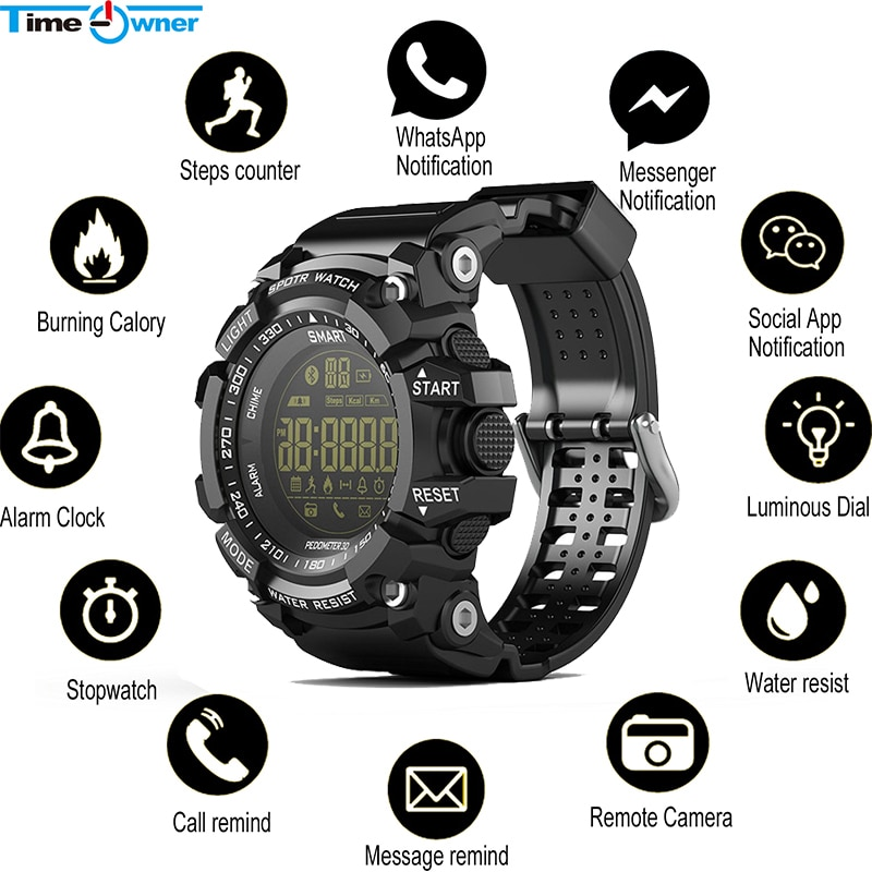 Time Owner Bluetooth Clock EX16 Smart Watch Notification Remote Control Pedometer Sport Watch IP67 Waterproof Men's Wristwatch