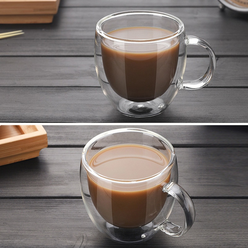 Transparent Drinkware Coffee Cups Tea Set Mugs Beer Drink Office Mug Double Glass Cup Simple style