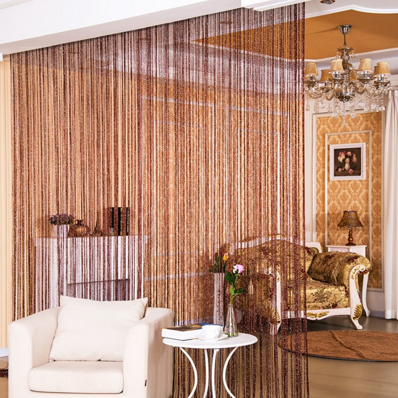Urijk New Hot Silver Leather Line String Curtains Door Window Panel Curtain Divider Yarn String Curtain Strip Tassel Home Decor