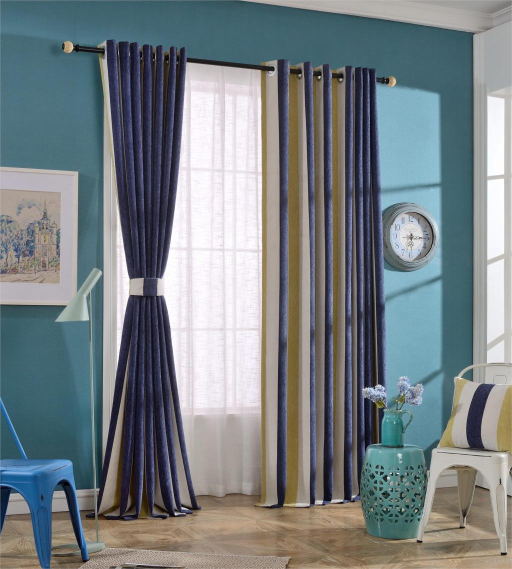 Urijk Striped Voile Sheer Curtains Striped Pattern Curtain With Yellow Blue White Bedroom Kitchen Living Room Home Decor
