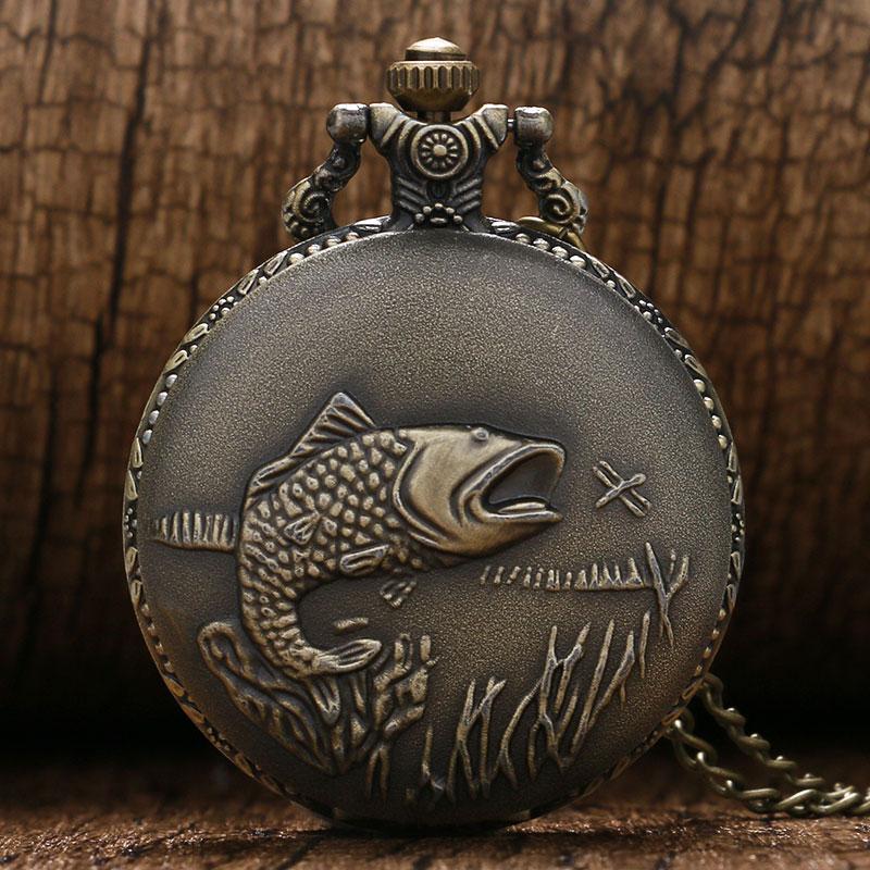 Vintage Pocket Watches Fishing Fish Fob Watch Relogio Masculino Relogio De Bolso For Man Woman Clock Nurse Watch Birthday Gifts
