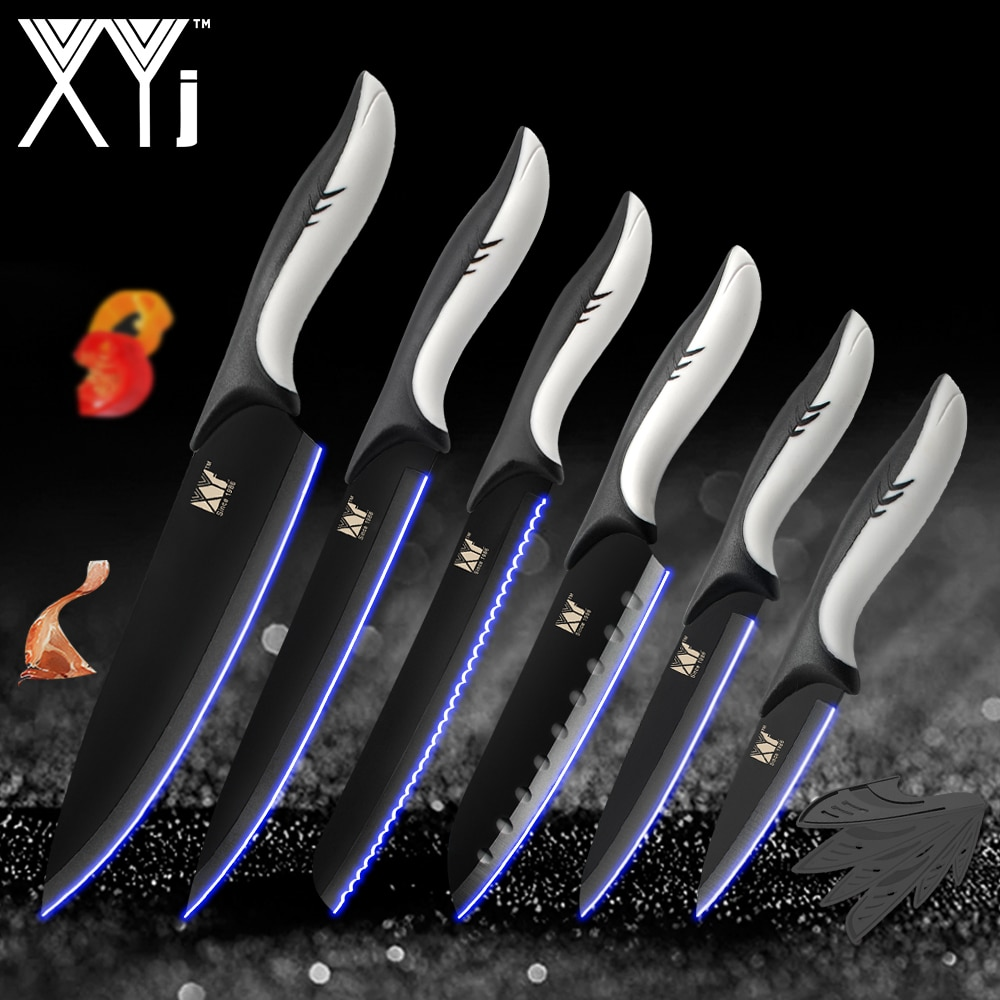 XYj Kitchen Cooking Stainless Steel Knives Tools Black Blade Paring Utility Santoku Chef Slicing Bread Kitchen Accessories Tools