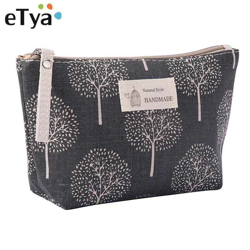 eTya Women Plaid Travel Cosmetic Bag Makeup Bags Handbag Female Zipper Purse Small Make Up Bags Travel Beauty Organizer Pouch