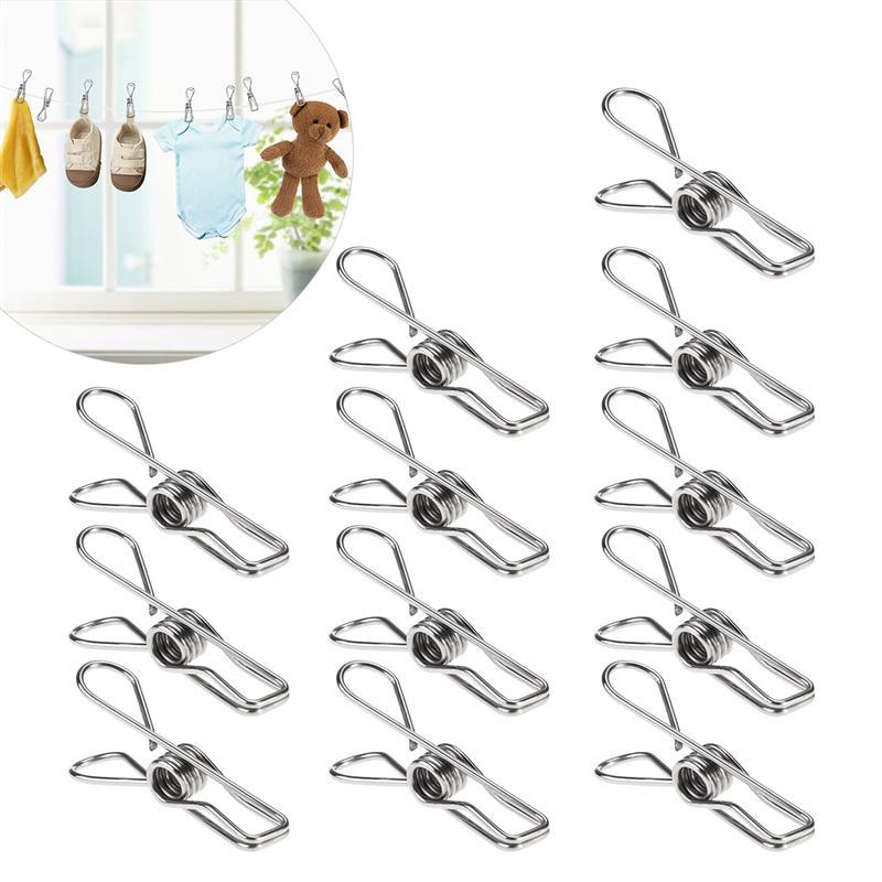 20pcs Multipurpose Stainless Steel Clips Clothes Pins Pegs Holders Clothing Clamps Sealing Clip Household Clothespin