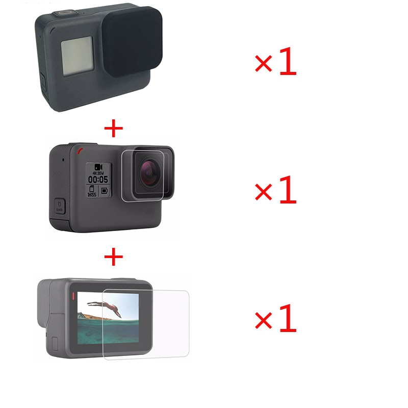3 in 1 Accessories Lens Protection Cover+Tempered Film LCD Screen Protector + Lens Protector for Gopro hero 7 6 5 Action Camera