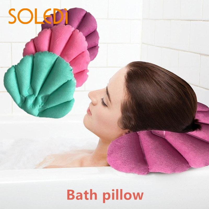 40* 30cm Spa Inflatable Bath Pillow Soft Bathroom Pillow Shell Shaped Neck Bathtub Cushion  Bathroom Accessories