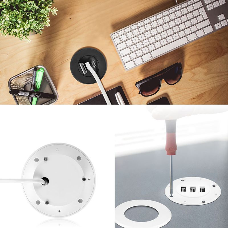 5cm Grommet Hole In-Desk Mounting 3 Ports USB 2.0 Hub For Laptop PC Computer USB Hub Computer Accessories