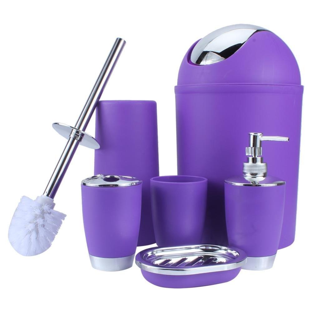 6 IN 1 Bathroom Toothbrush Holder Hand Sanitizer Bottle Soup Holder Toilet Brush Waste Bins Bathroom Accessories Set 6 Colors