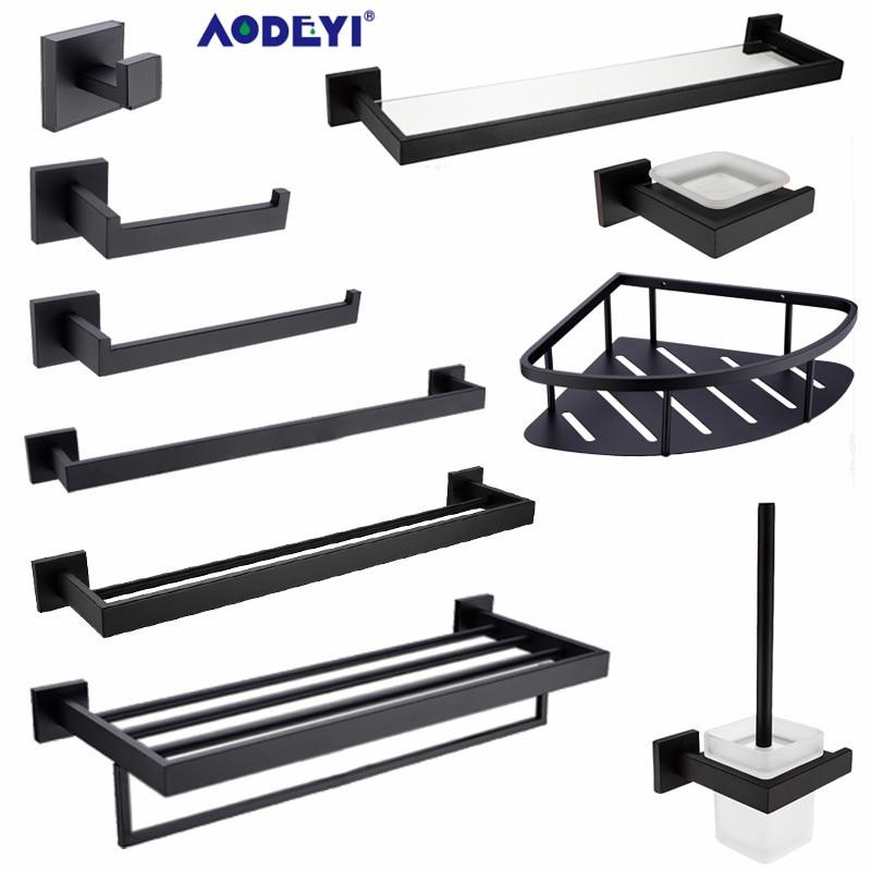 AODEYI Bathroom Hardware Set Black Robe Hook Towel Rail Rack Bar Shelf Paper Holder Toothbrush Holder Bathroom Accessories