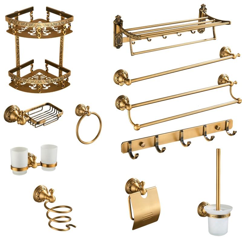 Antique Brass Bathroom Accessories Set Shelf Towel Bar Cup Holders Hairdryer Rack Tissue Holder Roll Paper Holder Soap Dish