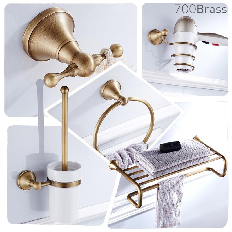 Bathroom Accessories,Towel Bar, Paper Holder, Robe Hook, Antique Brass, Wall Mounted, Solid Brass,Shower Bath Hardware Set