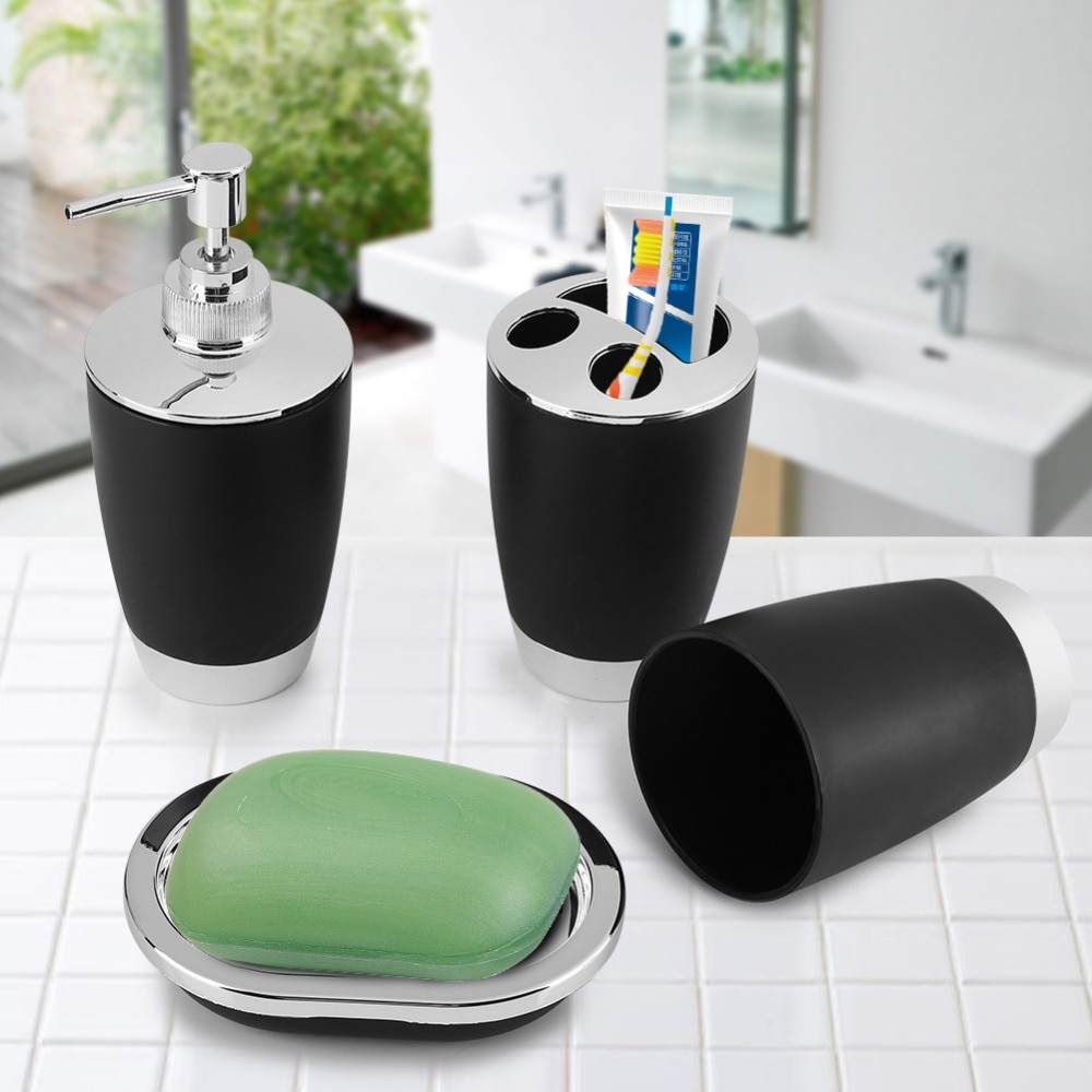 Fdit 4Pcs/Set Bathroom Suit Accessories Include Cup Toothbrush Holder Soap Dish Dispenser Shampoo Press Bottle Bath Accessories