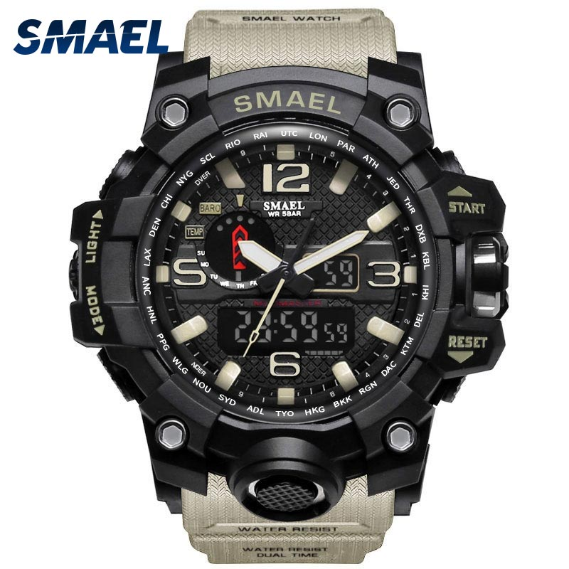 Men Military Watch 50m Waterproof Wristwatch LED Quartz Clock Sport Watch Male relogios masculino 1545 Sport Watch Men S Shock