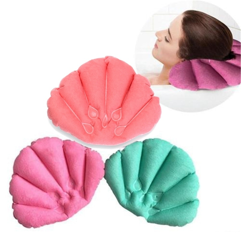 New Cups Shell Shaped Neck Bathtub Cushion Random Color Bathroom Accessories Bathroom Products Home Spa Inflatable Bath Pillow