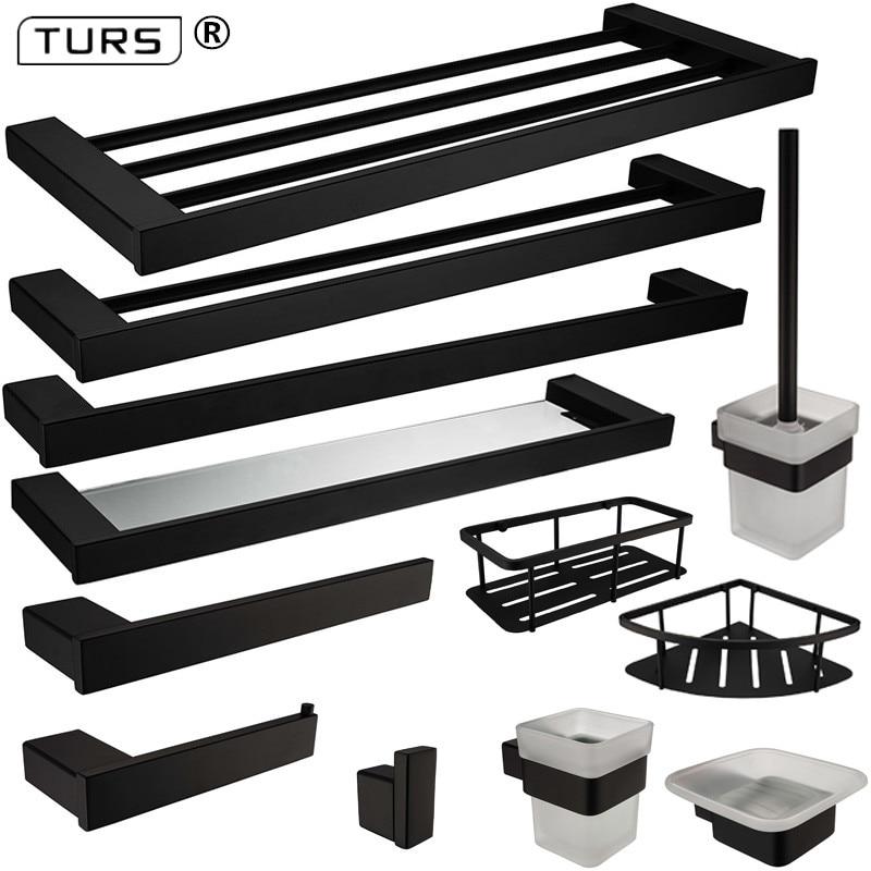New SUS 304 Stainless Steel Bathroom Hardware Set Black Matte Paper Holder Toothbrush Holder Towel Bar Bathroom Accessories