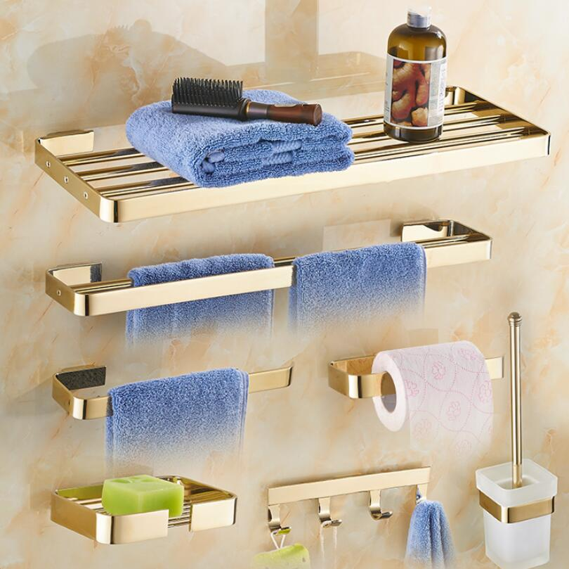 Newly Brass Bathroom Accessories Set, Gold Square Toilet Brush Holder,Paper Holder,Towel Bar,Towel Holder, bathroom Hardware set
