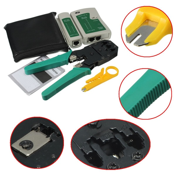 Portable 3 in 1 High Speed RJ45 RJ11 RJ12 CAT5/E LAN Network Kit Utp Cable Tester Plier Crimper Plug Clamp Computer HandTool Set