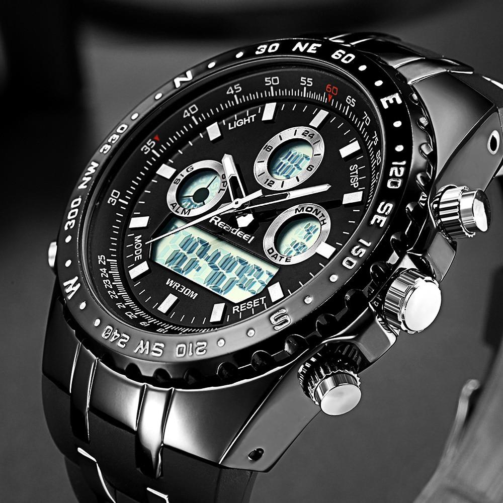 Readeel Top Brand Sport Quartz Wrist Watch Men Military Waterproof Watches LED Digital Watches Men Quartz Wristwatch Clock Male