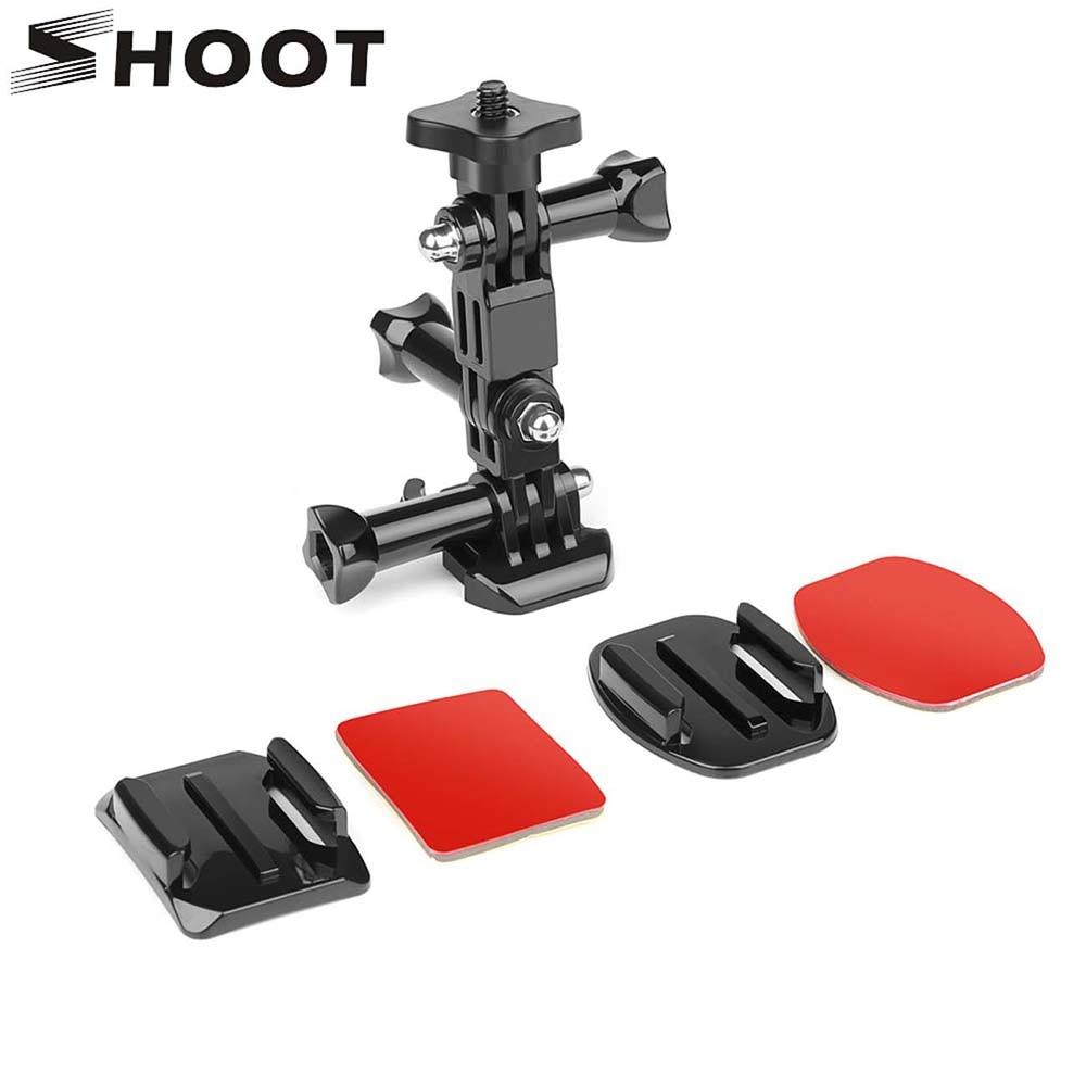 SHOOT Action Camera Helmet Tripod Mounts for GoPro Hero 7 5 6 Xiaomi Yi 4K SJCAM SJ4000 SJ5000 SJ7 h9 Go Pro 6 7 Accessories Set