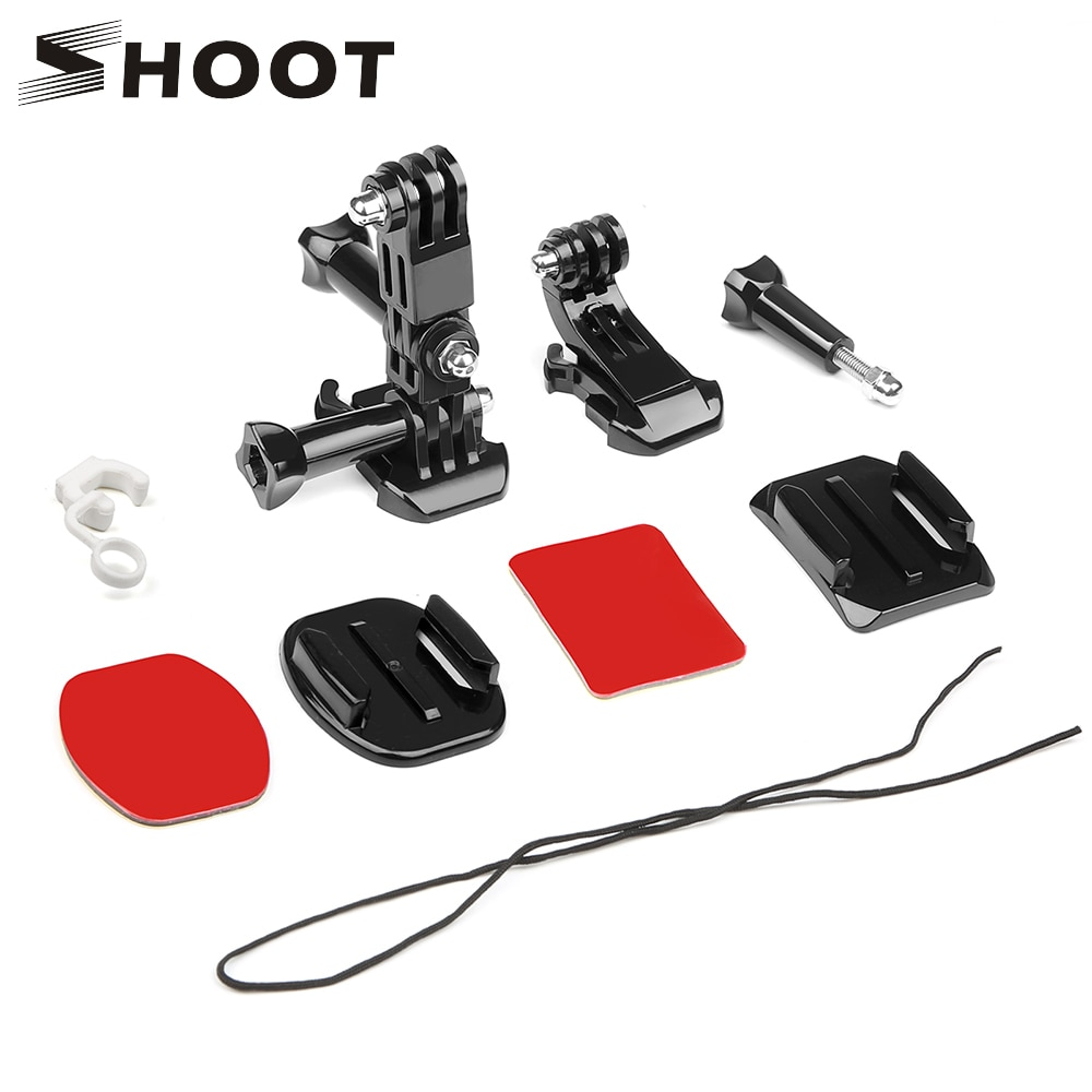 SHOOT Front Side Helmet Accessories Set J-shaped Buckle Base Support Mount for GoPro Hero 5 6 7 4 Xiaomi Yi 4K SJCAM Go Pro Kits