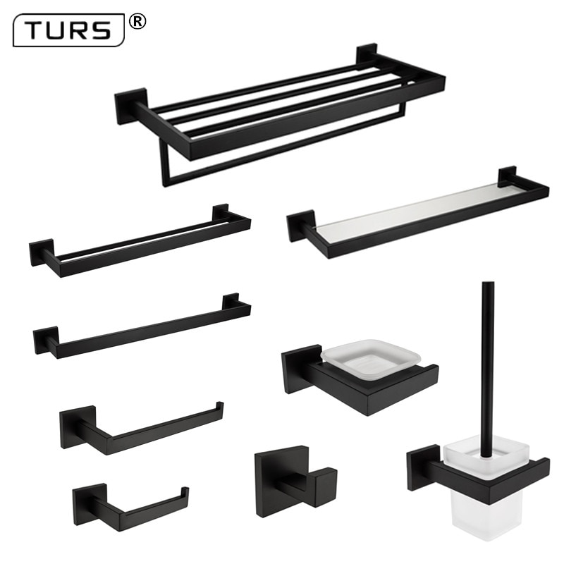 SUS 304 Stainless Steel Bathroom Hardware Set Black Matte Paper Holder Toothbrush Holder Towel Bar Bathroom Accessories