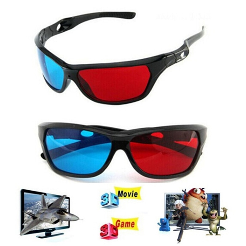 Universal 3D Plastic Glasses Red Blue Black Frame For Dimensional Anaglyph TV Movie DVD Game