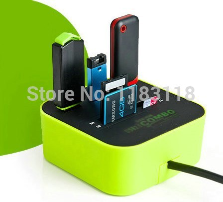 Zimoon Store 3 port usb hub 2.0 HUB with Micro multi card reader for SD/MMC/M2/MS/MP Computer Accessories